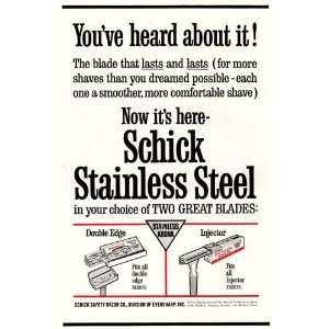 Print Ad 1963 Schick Stainless Steel Blades Schick Books