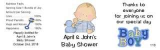 Baby Shower Water Bottle Labels Waterproof 24 Quantity