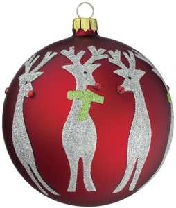 Set 4 Red Ball Silver Glitter Reindeer Christmas Ornament