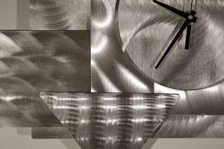 Modern Abstract Metal Wall Art Decor Sculpture Silver/Black Stream