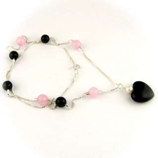 Rose Quartz Black Onyx Heart Sterling Silver Box Chain Necklace n1328