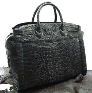 100% AUTH PREMIUM CROCODILE LEATHER LUGGAGE LARGE BAG BLACK NEW