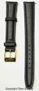 14 mm BLACK CALF LEATHER PADDED WATCH BAND / STRAP NEW