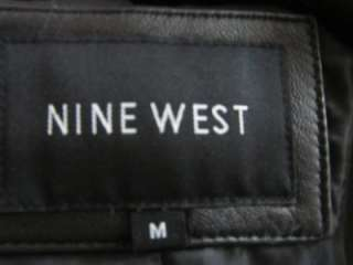 Nine West Black Peacoat Leather Pea Coat Waist Jacket Fitted Notched
