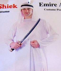 FABULOUS MENS SHEIK ARAB COSTUME ROBE AND HEADPIECE NEW