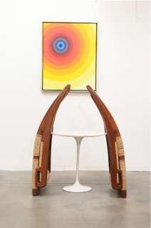 1950s Danish Modern TEAK Cane Lounge Chairs Hans Wegner Mid Century
