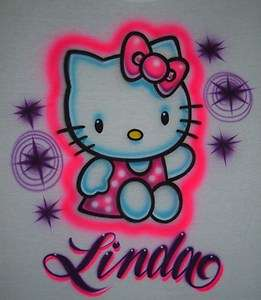 Airbrush Personalized Name With Hello Kitty 2 T Shirt