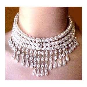Wedding Bridal Pearl Rhinestone Necklace Earring Set