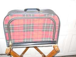 Vintage Red/Black Plaid small suitcase luggage 17x12x4