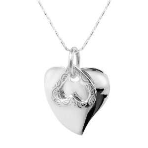 Sterling Silver Dangling Two Hearts Necklace Jewelry