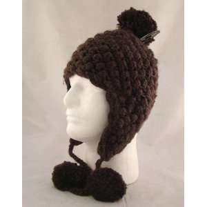 Knit Brown Crochet Ear Flap Pom Trooper Beanie Hat: Everything Else