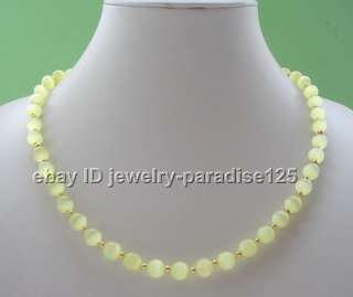 Beautiful 208mm natural perfect round cat eye necklace