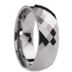 mm Mens Tungsten Carbide Rings Wedding Bands Multi Diamond Faceted