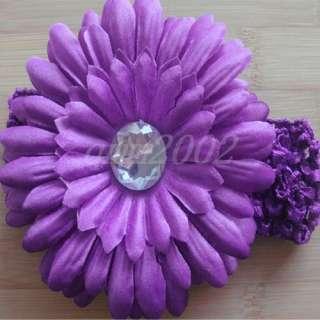 Baby Toddler Girl Knit Crochet Headbands Daisy Flower Hair Clips Bows