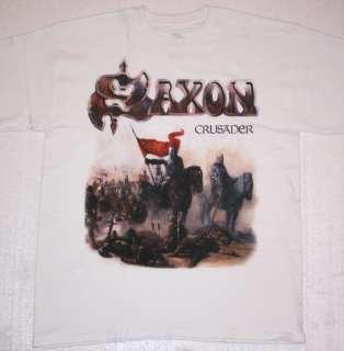SAXON CRUSADER 1984 HEAVY METAL WHITE NEW T SHIRT