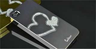 Swarovski Heart Diamond Crystal Luxury Hard Case Cover For i phone 4