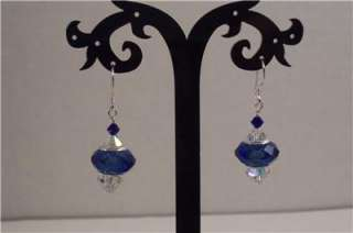 Glass Charm and Swarovski Crystal Sterling Silver Earrings