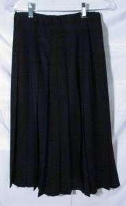 Pendleton Worsted Wool Pleated Skirt Women Sz 10 Petite, Black, NICE