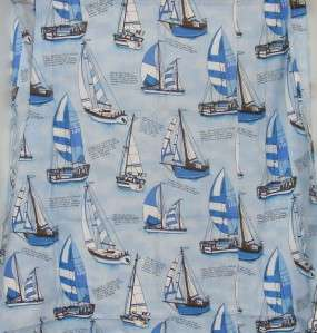 Sailboat Blue Cotton Fabric Shower Curtain w/Grommets A&E Creations