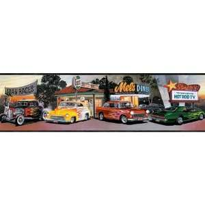 Black Four Decades of Hot Rods Wallpaper Border: Home & Kitchen