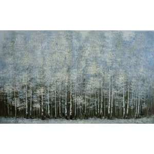 INAM WINTER WOODS Original Oil Painting 50 X 30 on Unstretched