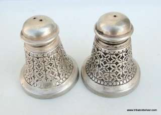 VINTAGE ANTIQUE SOLID SILVER SALT PEPPER SHAKERS INDIA