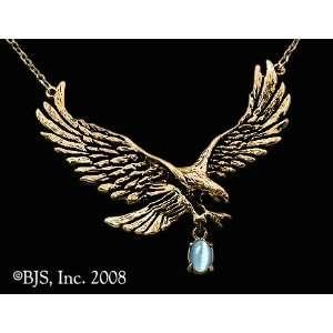 Gem, 14k Yellow Gold, Light Blue set gemstone, Eagle Animal Jewelry