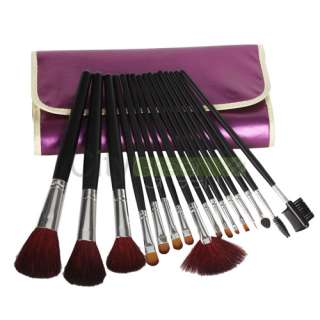 16 PCS Professional Makeup Cosmetic Brush Set Kit + Purple Pouch Bag