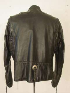 VINTAGE 1960S 70S BROOKS BLACK LEATHER MOTORCYCLE JACKET & PINS CAFE