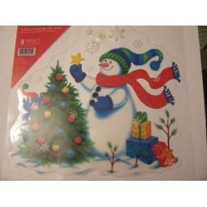 Holiday Suncatcher ~ Snowman Decorating Christmas Tree