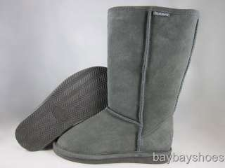 BEARPAW EVA 12 TALL BOOT GRAY SUEDE SHEEPSKIN WINTER SNOW WOMENS ALL