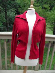 XL 100% Cotton Cable Knit Zipper Cardigan Sweater True Deep Red