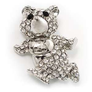 Running Teddy Bear Crystal Brooch Jewelry