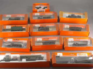 DTD   HO SCALE LOT   12 ROCO MINITANKS TANKS TRUCK JEEPS MILITARY