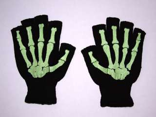 Fingerless Misfit Glow in the Dark Skeleton Bone Gloves Gothic Horror