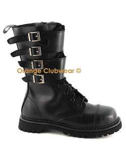 DEMONIA ATTACK 10 Punk Gothic Leather Mens Combat Boots