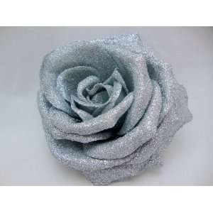 NEW Large Silver Glitter Rose Flower Hair Clip and Pin