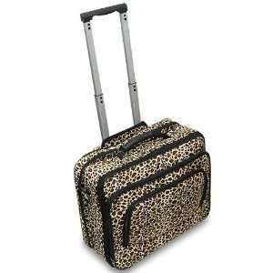 LEOPARD PATTERN 16 Rolling Canvas Laptop Bag Brief Case