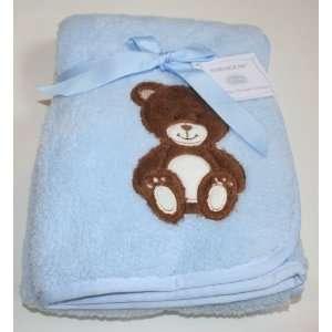Babygear Super Soft Baby Blanket   Blue/Bear 30 x 36 Baby