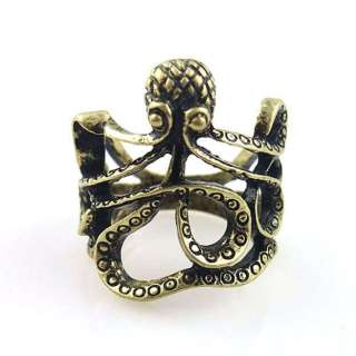 Punk Goth Cute Octopus Retro Bronze Finger Ring Size 6