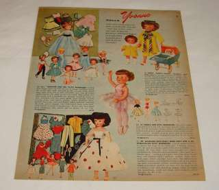 1959 dolls catalog page ~ YVONNE, NADIA, HAPPY FAMILY