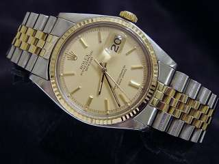 Mens Two Tone 14k Gold/Steel Rolex Datejust Watch Champagne