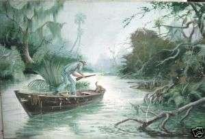 1940s oil painting GATOR hunting dog,gun,swamp,gator |