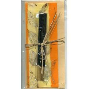 Handmade Greeting Card with Incense Sticks; Real Leaf Imprints on