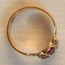 GEORGIAN ruby & emerald flower 10k yellow gold CLUSTER RING very old