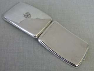 LARGE FINE EDWARDIAN DOUBLE SOLID SILVER CURVED CIGARETTE CASE 1910