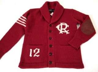 RALPH LAUREN POLO red wool varsity shawl cardigan sweater L NWT