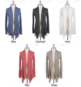 Solid Plain Long Sleeve Draped Open Cardigan VARIOUS COLOR and SIZE