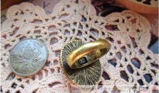 Retro Elegant Peacock Feather Crystal Gem Ring