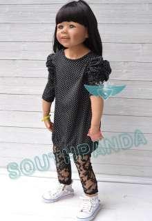 Sleeve Polka Dots Girl Kids T shirts Top Dress Age 3 4 New Cute